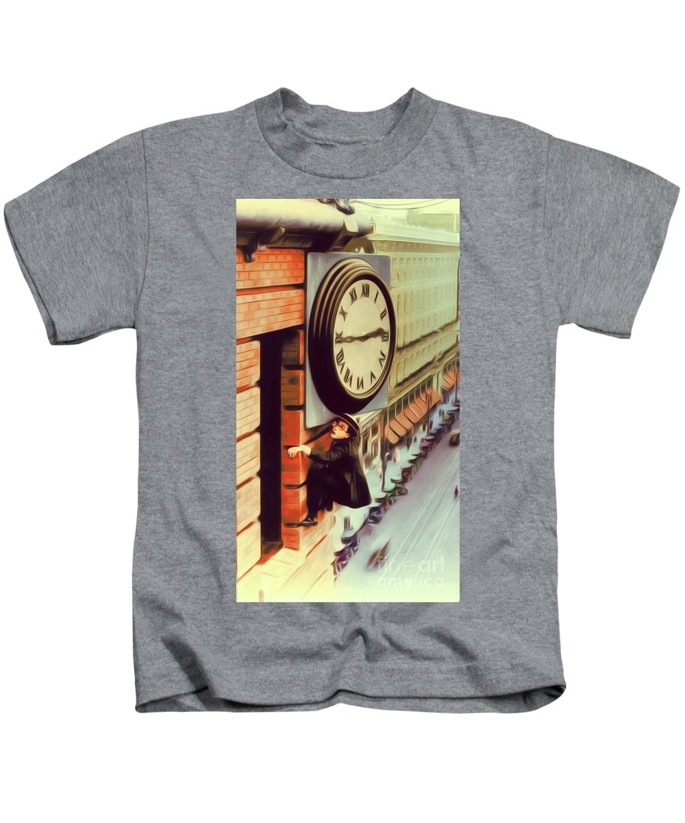 Harold Kids T-Shirt featuring the painting Harold Lloyd, Hollywood Legend by John Springfield