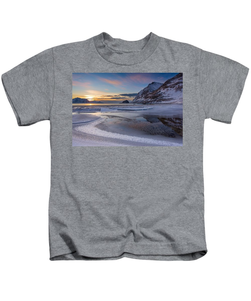 Kids T-Shirt featuring the photograph Haukland Sunset by Michael Blanchette