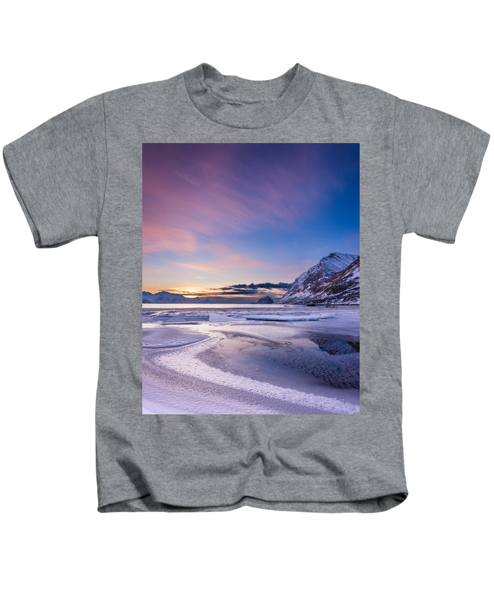 Kids T-Shirt featuring the photograph Haukland Sunset - Vertical by Michael Blanchette