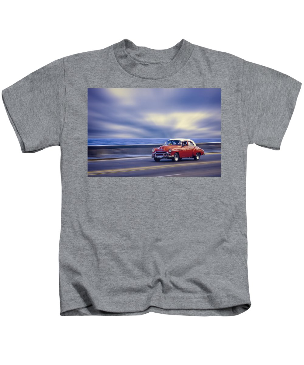 Cuba Kids T-Shirt featuring the photograph Havana Malecon by Claude LeTien
