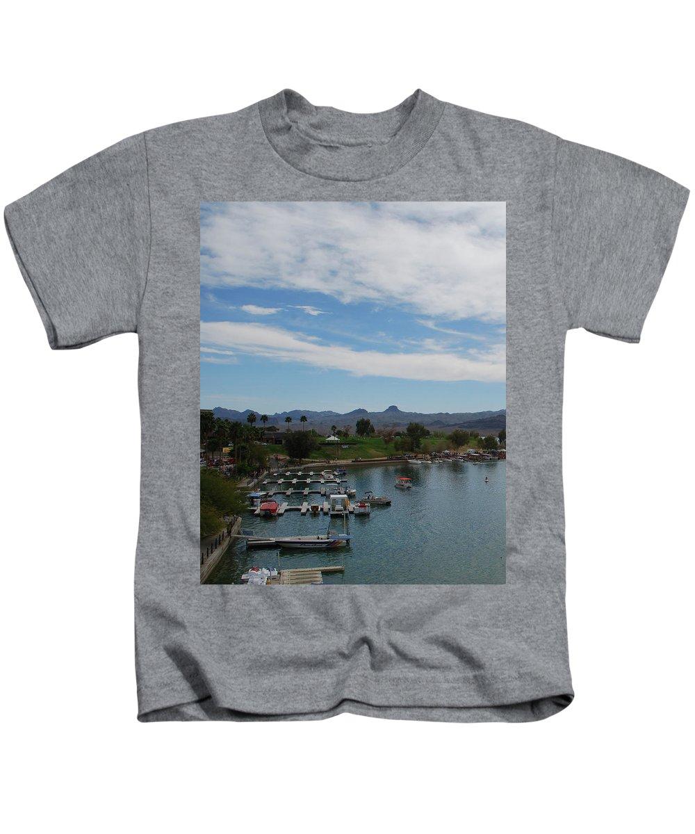 Kids T-Shirt featuring the photograph Havasu City Az Waterfront by Carol Eliassen