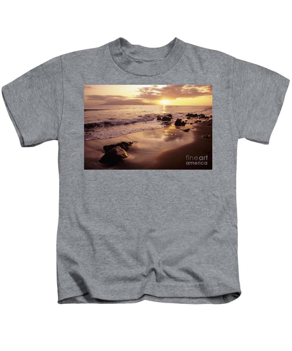 Beach Kids T-Shirt featuring the photograph Hawaii Sunset by Dana Edmunds - Printscapes