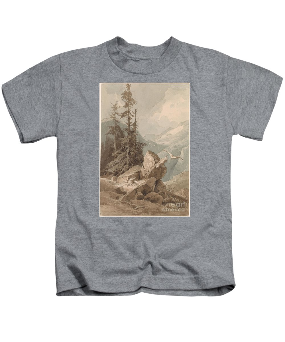 Friedrich Preller 1804-1878 Hawks On A Mountain. Trees Kids T-Shirt featuring the painting Hawks On A Mountain by MotionAge Designs