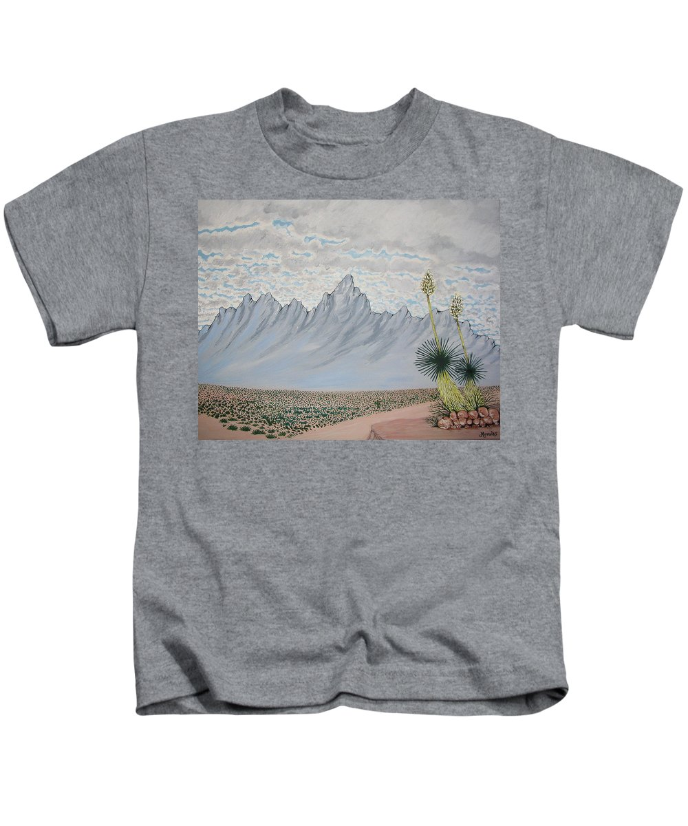 Desertscape Kids T-Shirt featuring the painting Hazy Desert Day by Marco Morales