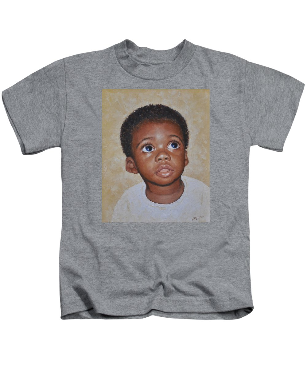 Portaits Kids T-Shirt featuring the painting He Is Coming by Iliyan Bozhanov