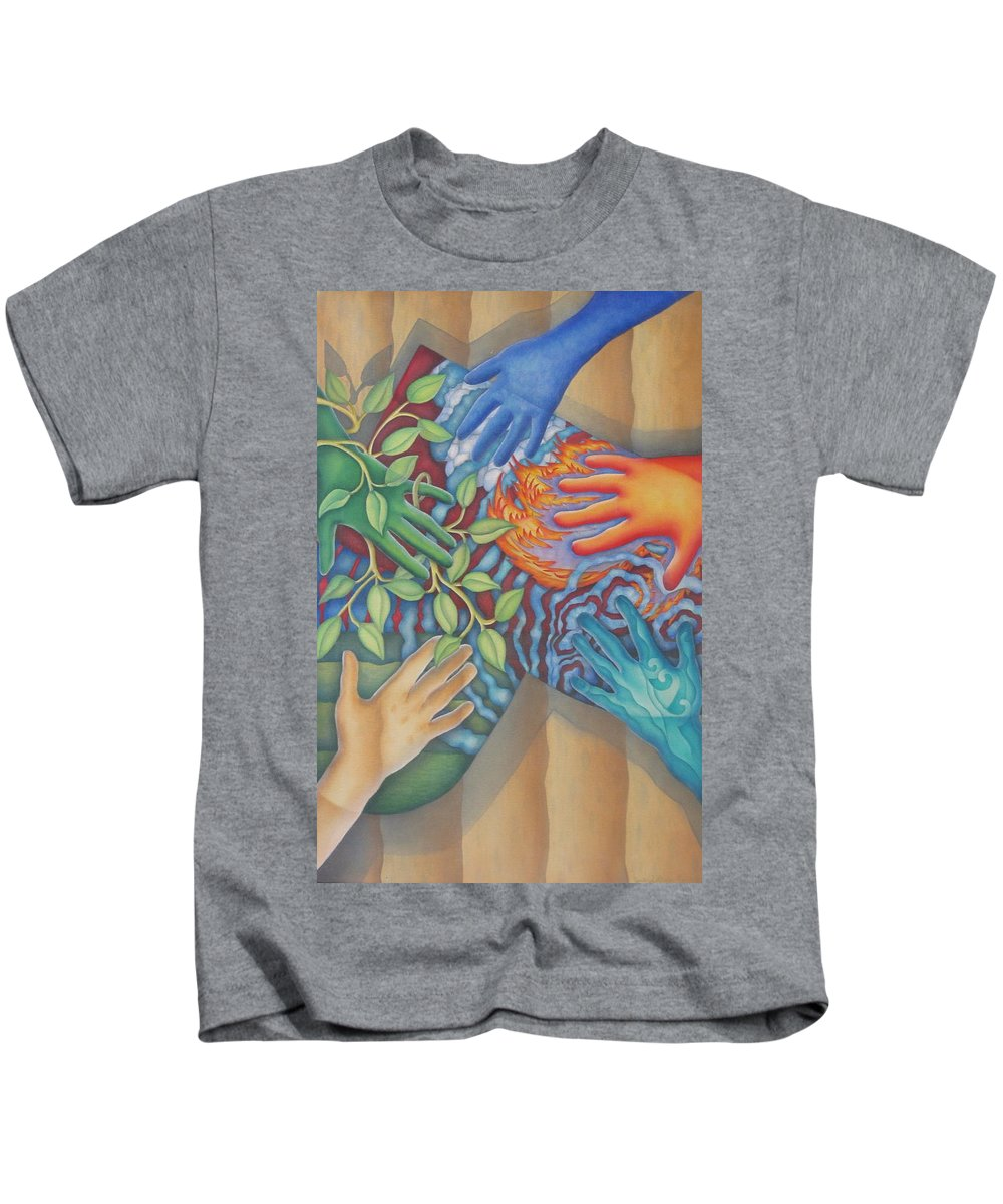 Nature. Love Kids T-Shirt featuring the painting Healing Hands Of Love by Jeniffer Stapher-Thomas