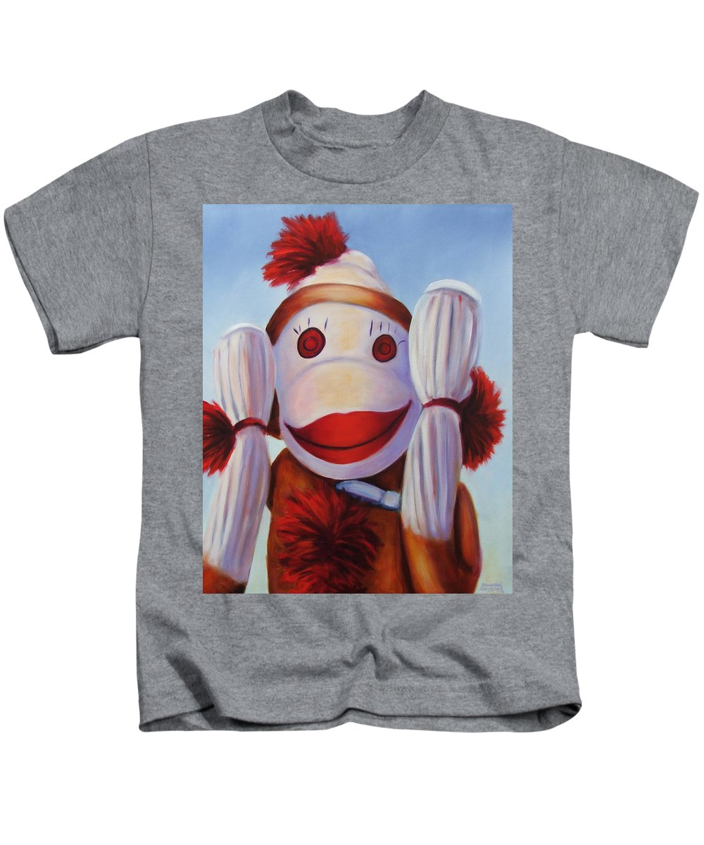 Children Kids T-Shirt featuring the painting Hear No Bad Stuff by Shannon Grissom