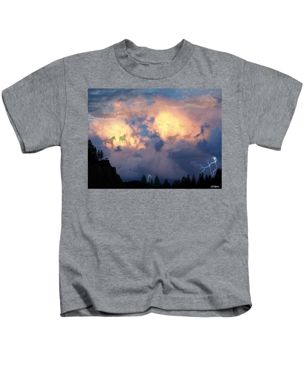 Horses Kids T-Shirt featuring the digital art Heavenly Carousel by Bill Stephens