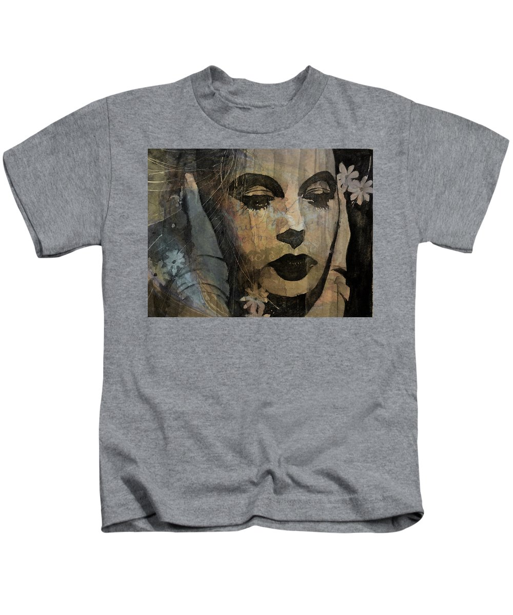 Hedy Lamar Kids T-Shirt featuring the mixed media Hedy Lamarr - Only A Woman's Heart by Paul Lovering
