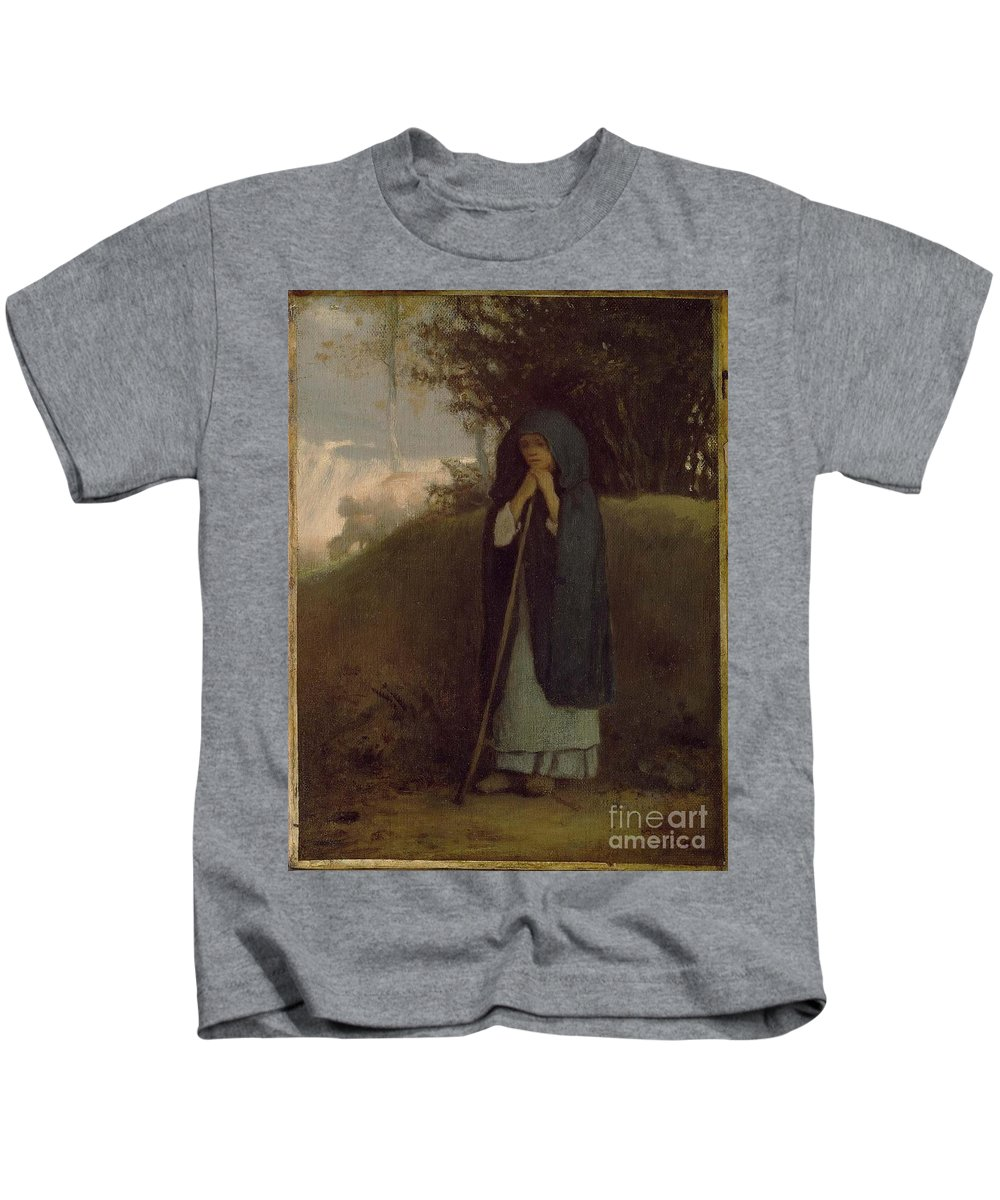 Hepherdess Leaning On Her Staff About 1852�53 Jean-fran�ois Millet (french Kids T-Shirt featuring the painting hepherdess Leaning on her by MotionAge Designs