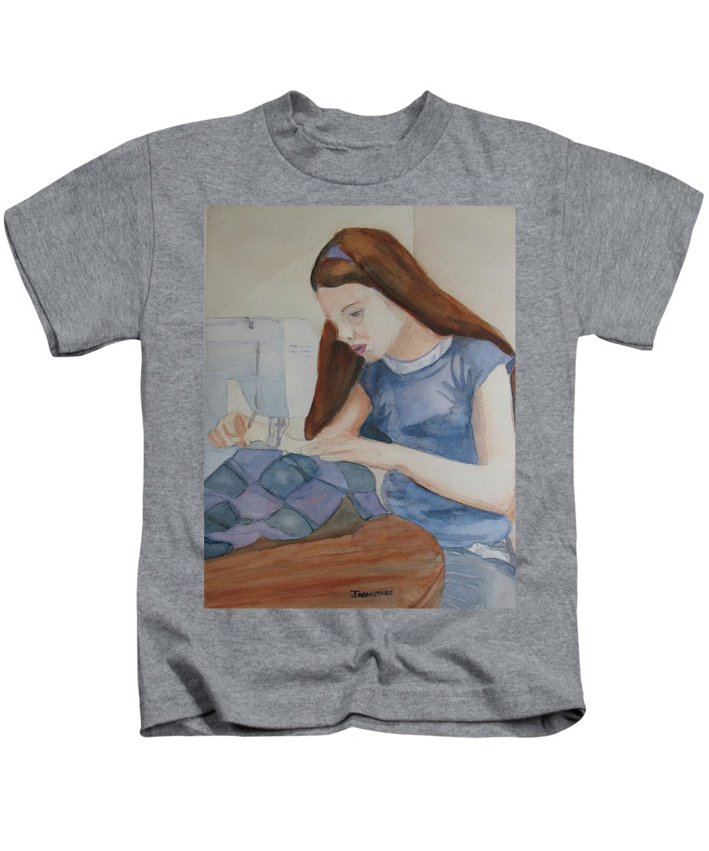 Girl Kids T-Shirt featuring the painting Her First Quilt by Jenny Armitage
