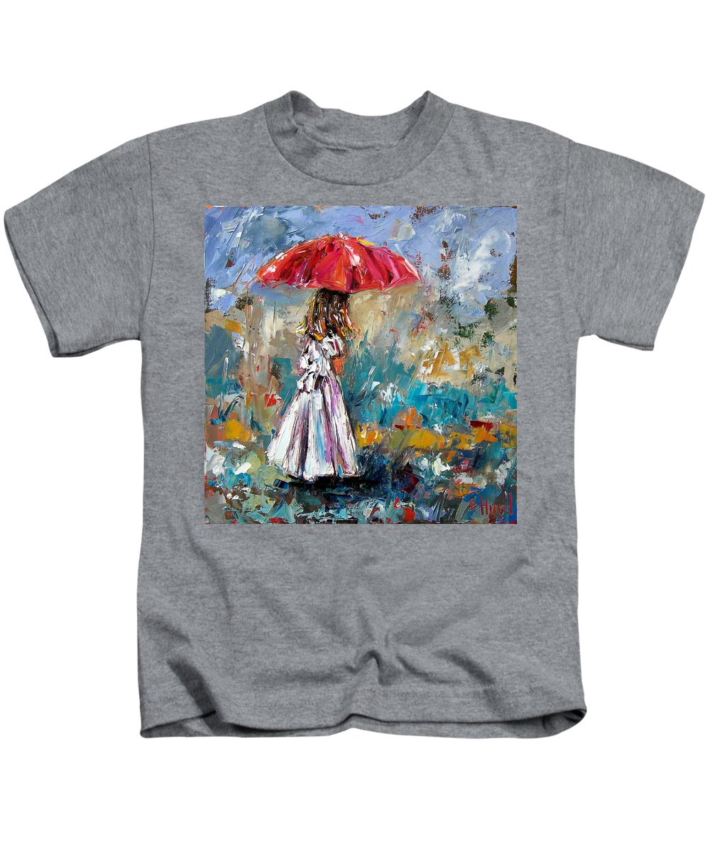 Children Art Kids T-Shirt featuring the painting Her White Dress by Debra Hurd
