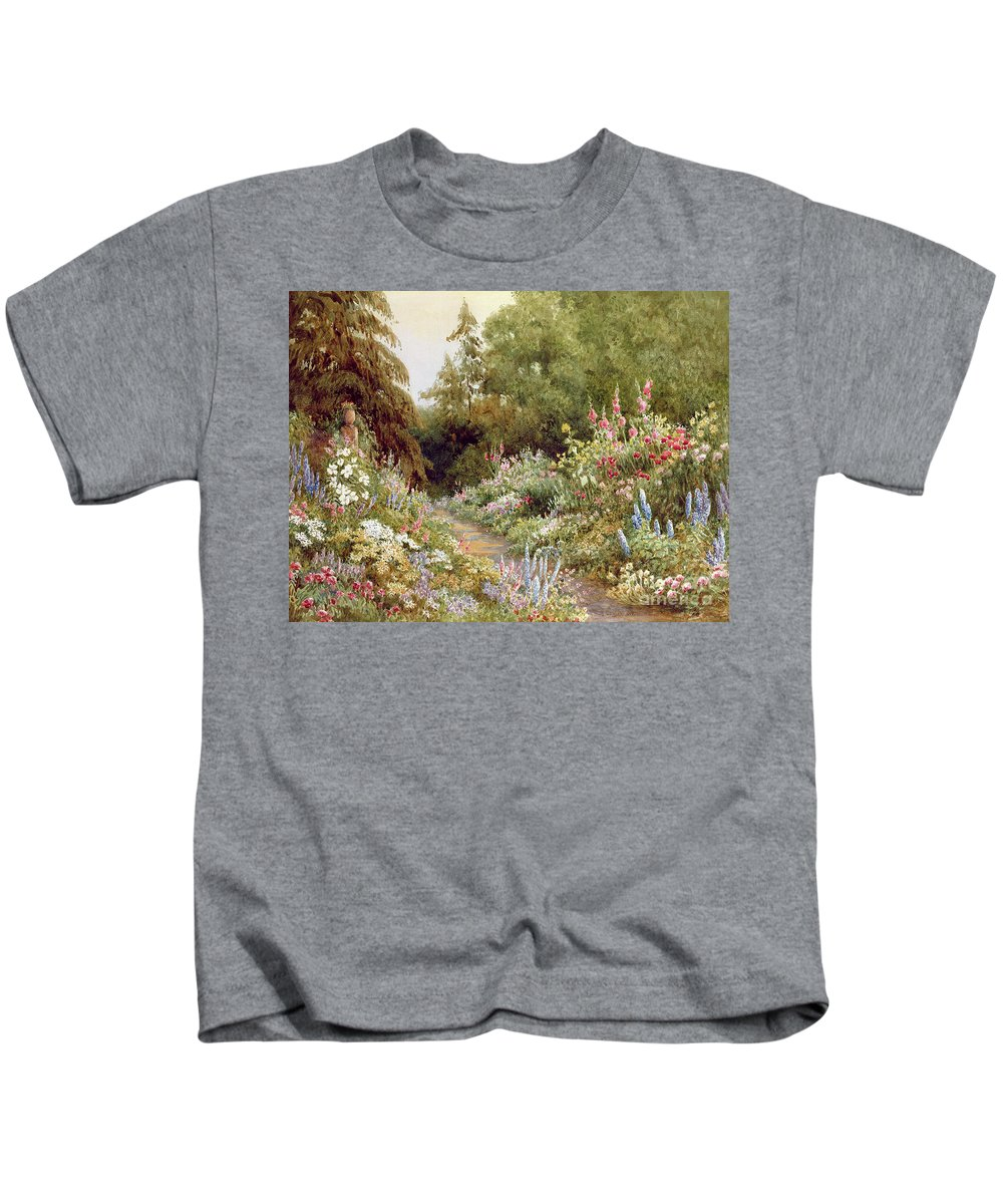 Herbaceous Kids T-Shirt featuring the painting Herbaceous Border by Evelyn L Engleheart