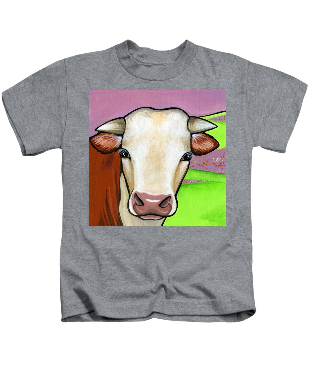 Cow Kids T-Shirt featuring the painting Hereford by Leanne Wilkes