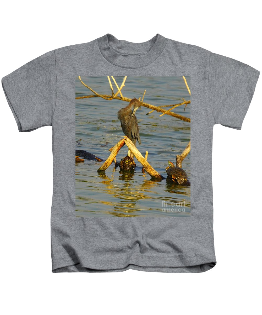 Nature Kids T-Shirt featuring the photograph Heron And Turtle by Robert Frederick