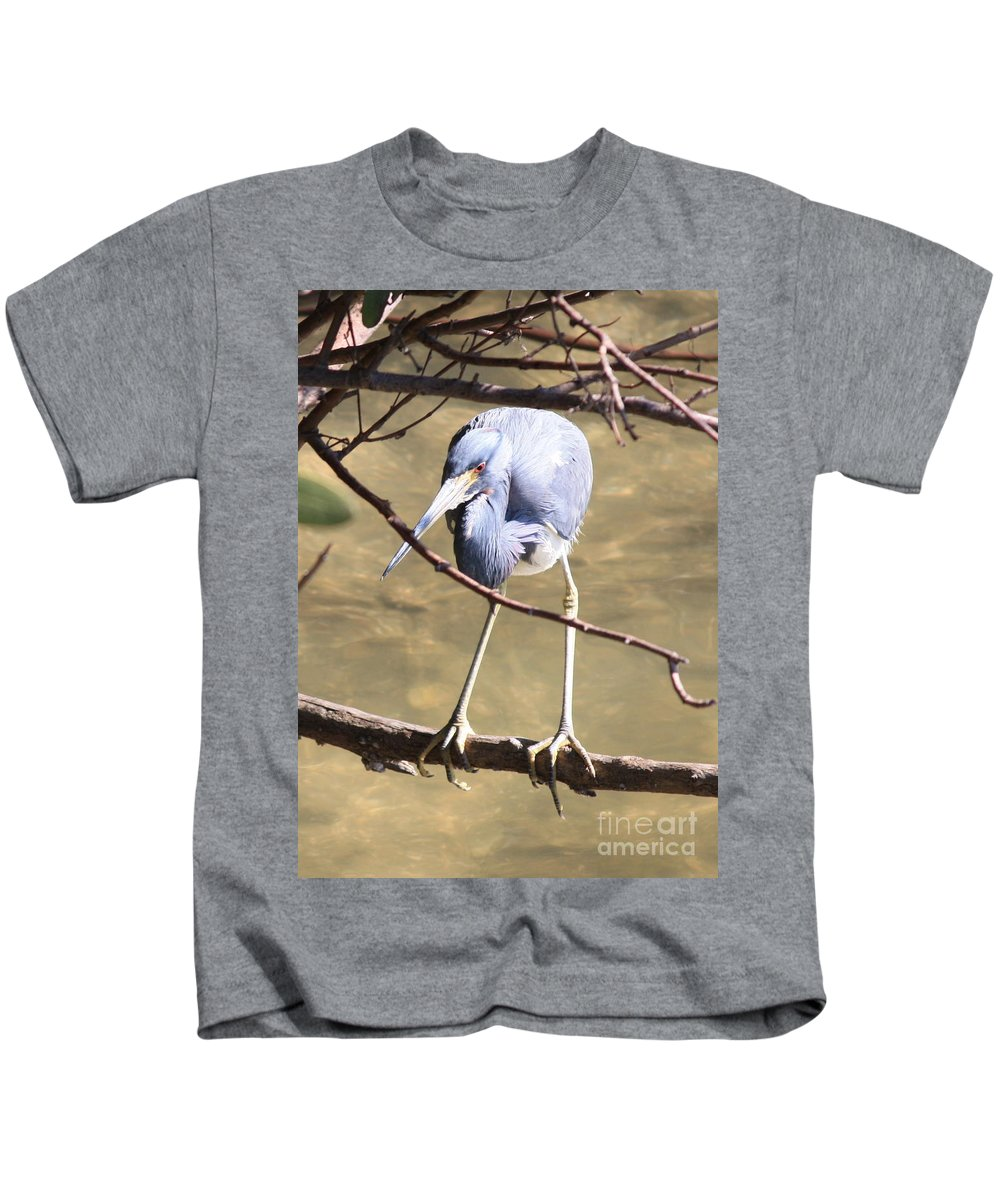 Tricolored Heron Kids T-Shirt featuring the photograph Heron On Branch by Carol Groenen