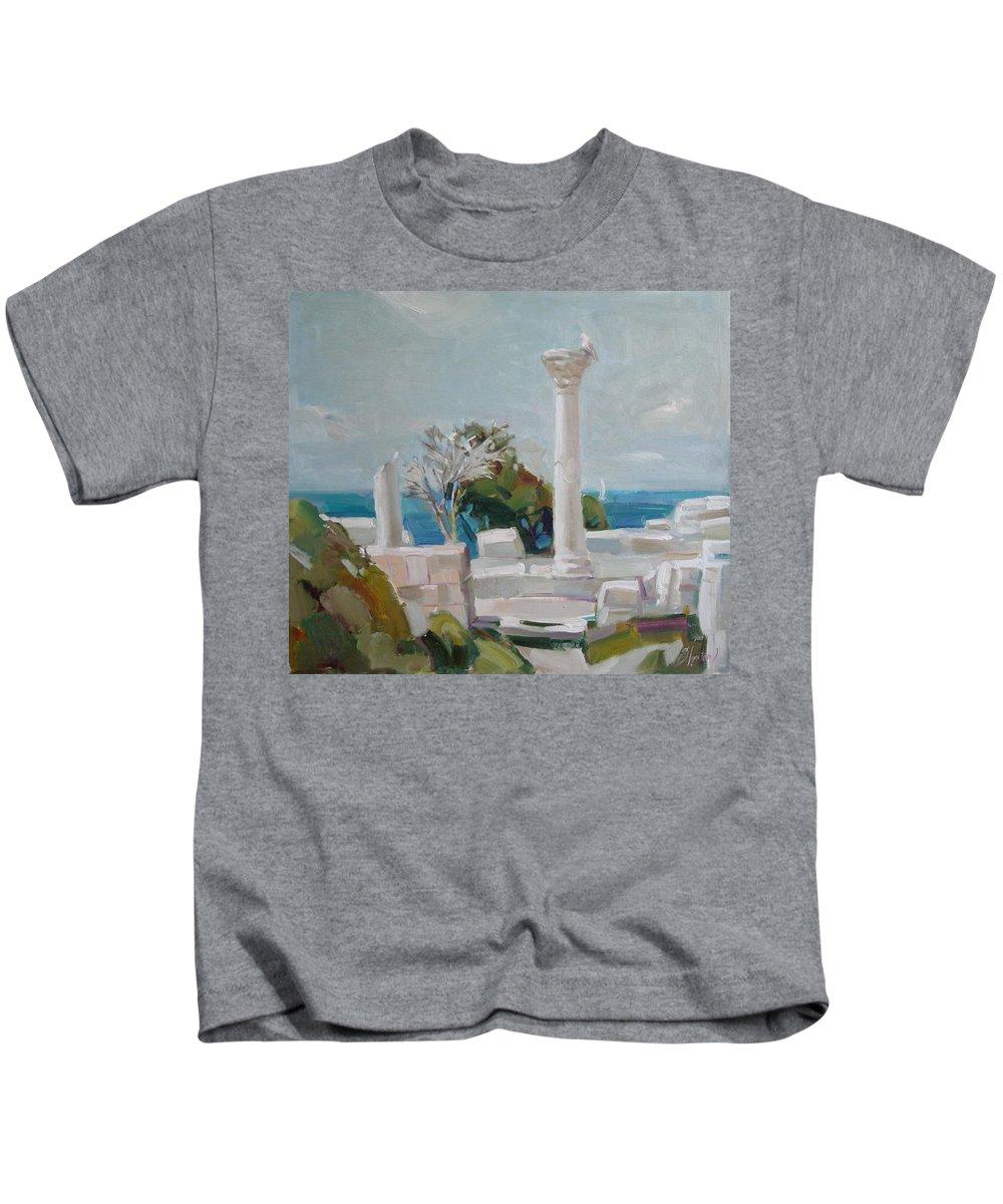 Ignatenko Kids T-Shirt featuring the painting Hersoness by Sergey Ignatenko