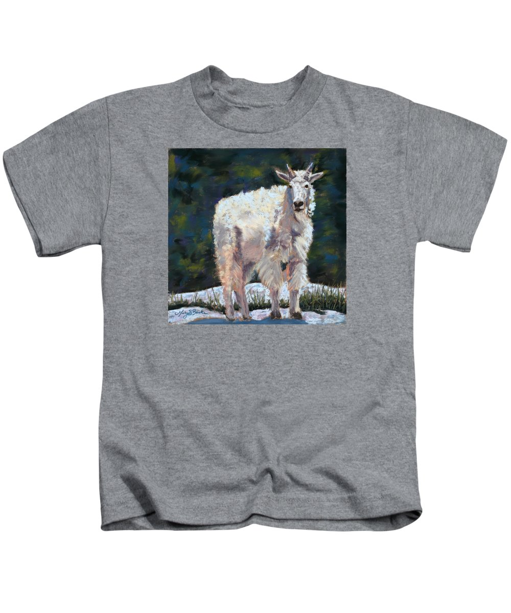 Mountain Goat Kids T-Shirt featuring the painting High Country Friend by Mary Benke