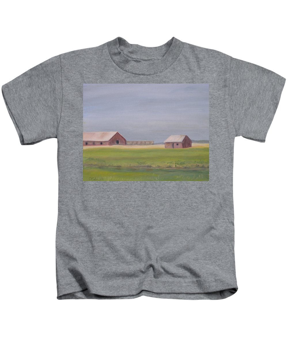 Landscape Plains Barn Kids T-Shirt featuring the painting High Plains by Patricia Caldwell