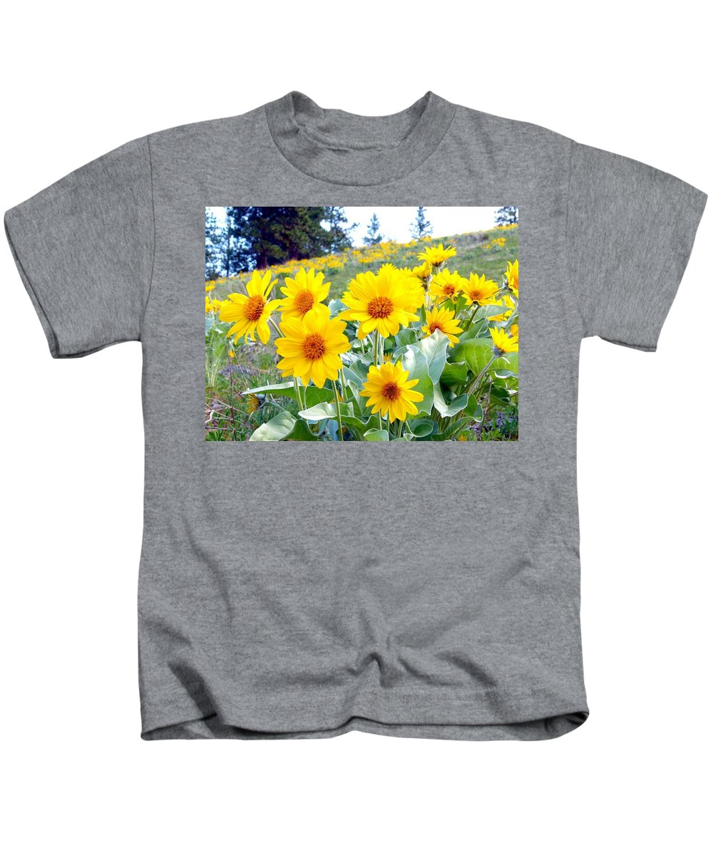 Wild Sunflowers Kids T-Shirt featuring the photograph Highland Sunflowers by Will Borden