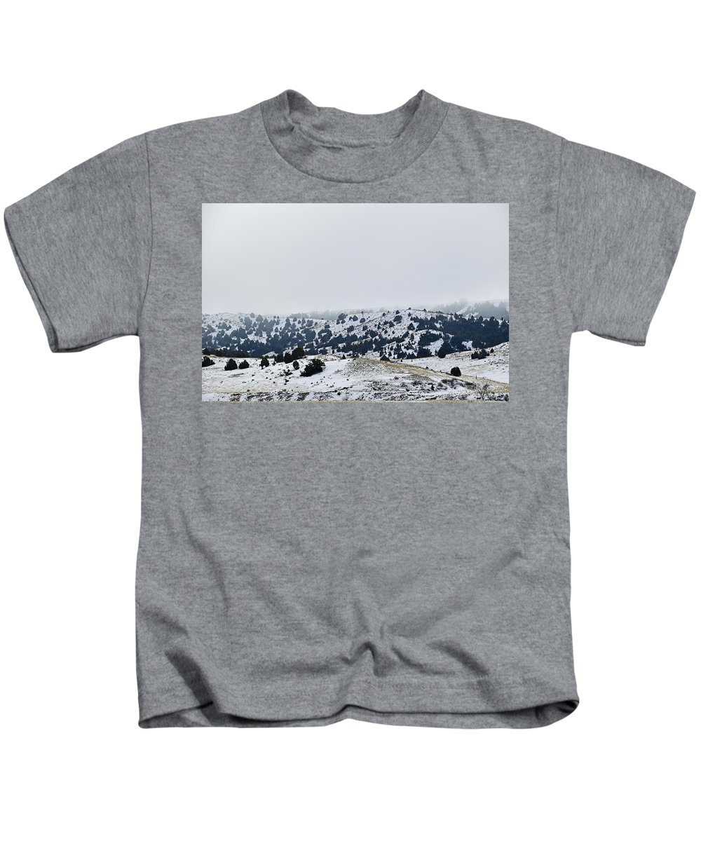 Winter Kids T-Shirt featuring the photograph Hills In Fog by Kellie Prowse