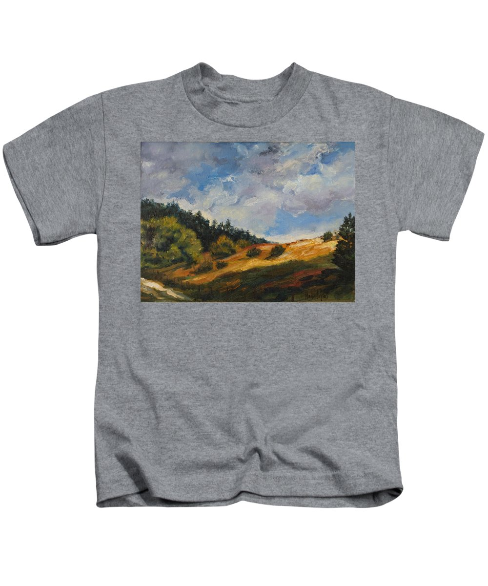 Hills Kids T-Shirt featuring the painting Hills by Rick Nederlof