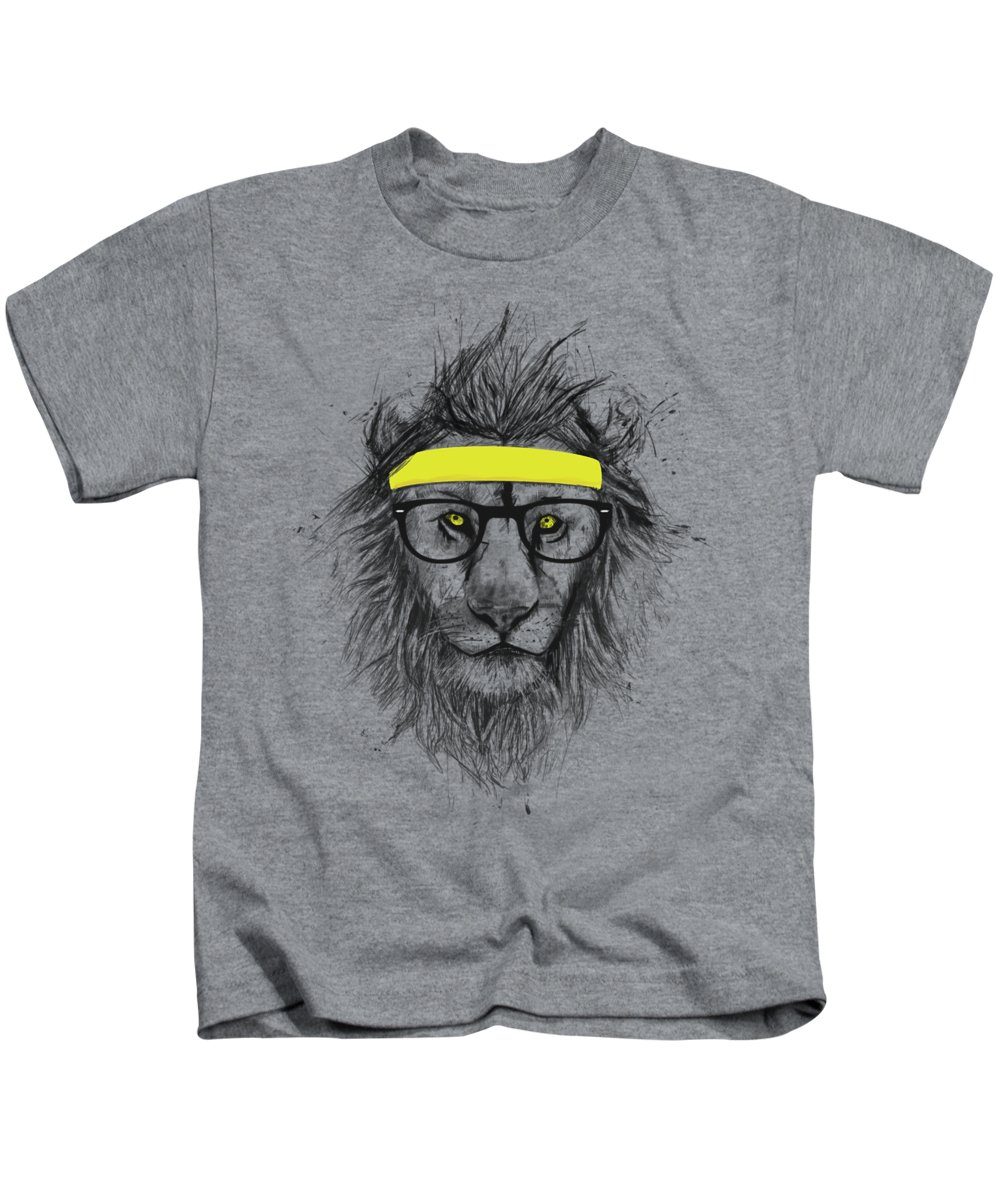 Lion Kids T-Shirt featuring the drawing Hipster lion by Balazs Solti
