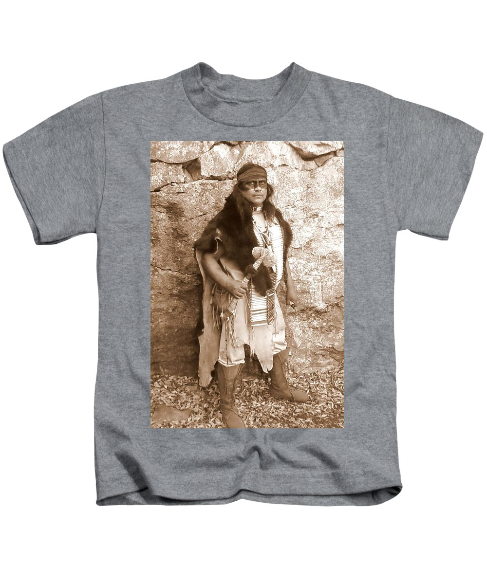 Indian Warclub Scout Sepia Apache Bear Hide Kids T-Shirt featuring the photograph His Warclub by Cindy New