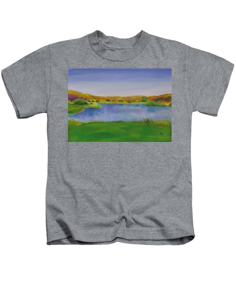 Golf Kids T-Shirt featuring the painting Hole 3 Fade Away by Shannon Grissom