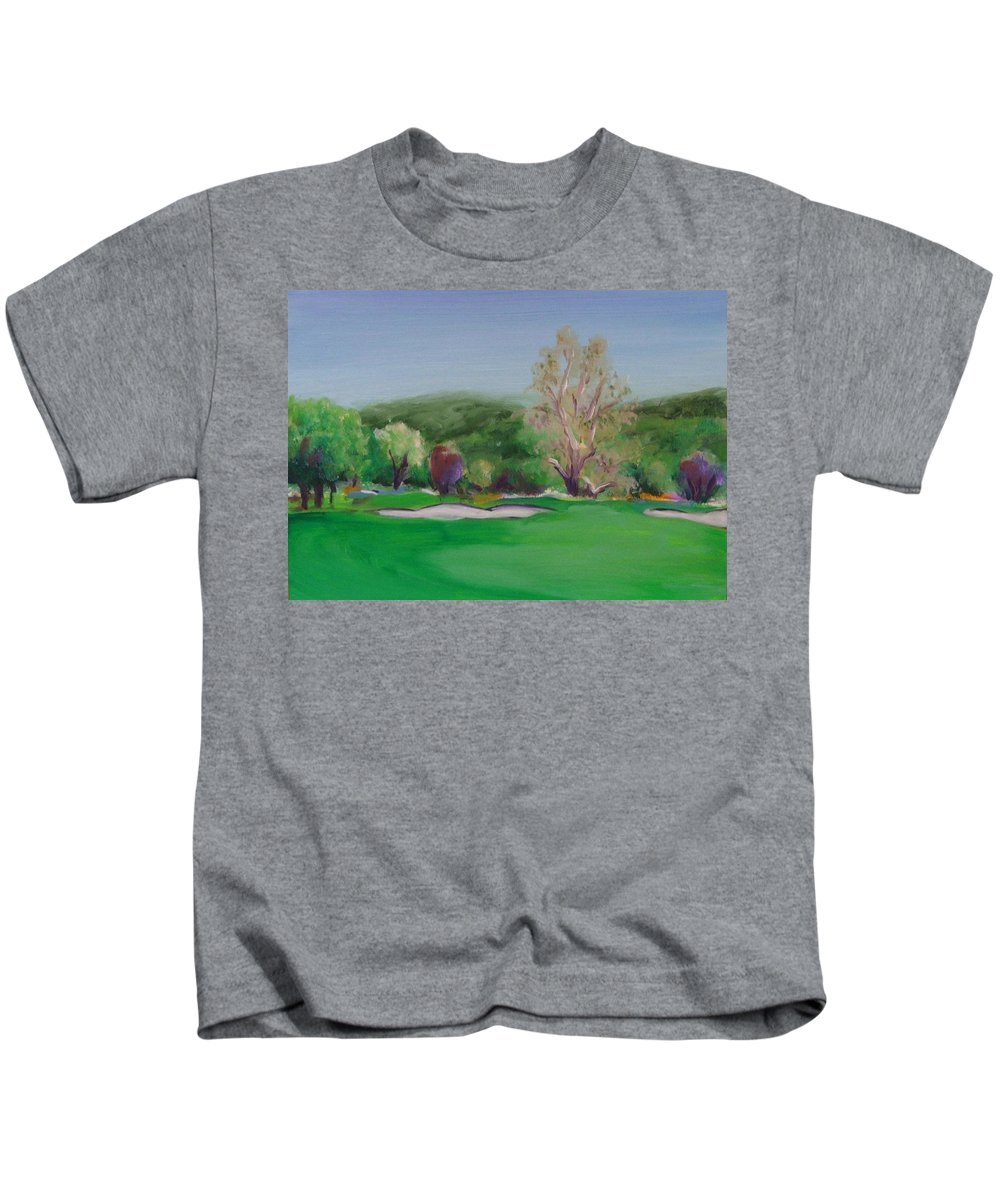 Golf Kids T-Shirt featuring the painting Hole12 Ohlone Ridge by Shannon Grissom