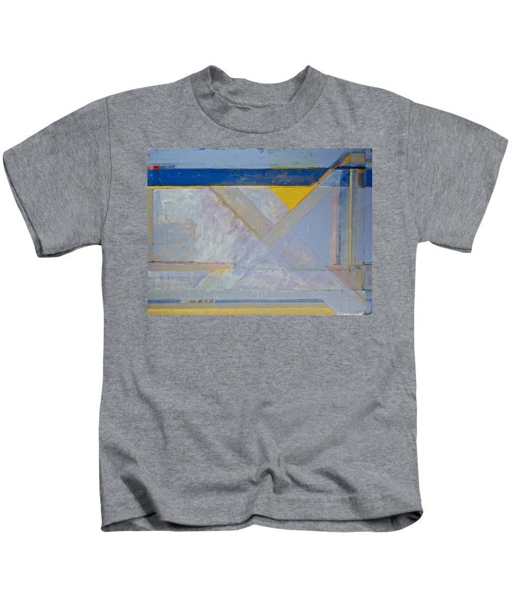 Abstract Painting Kids T-Shirt featuring the painting Homage To Richard Diebenkorn's Ocean Park Series by Cliff Spohn
