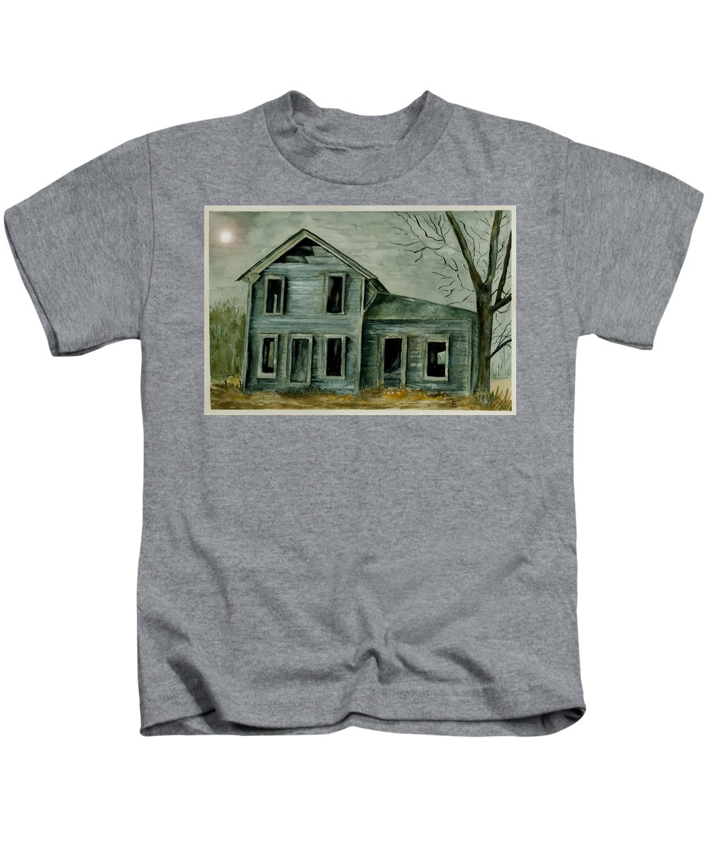 Landscape Watercolor House Ruin Moon Trees Sky Kids T-Shirt featuring the painting Home Sweet Home by Brenda Owen