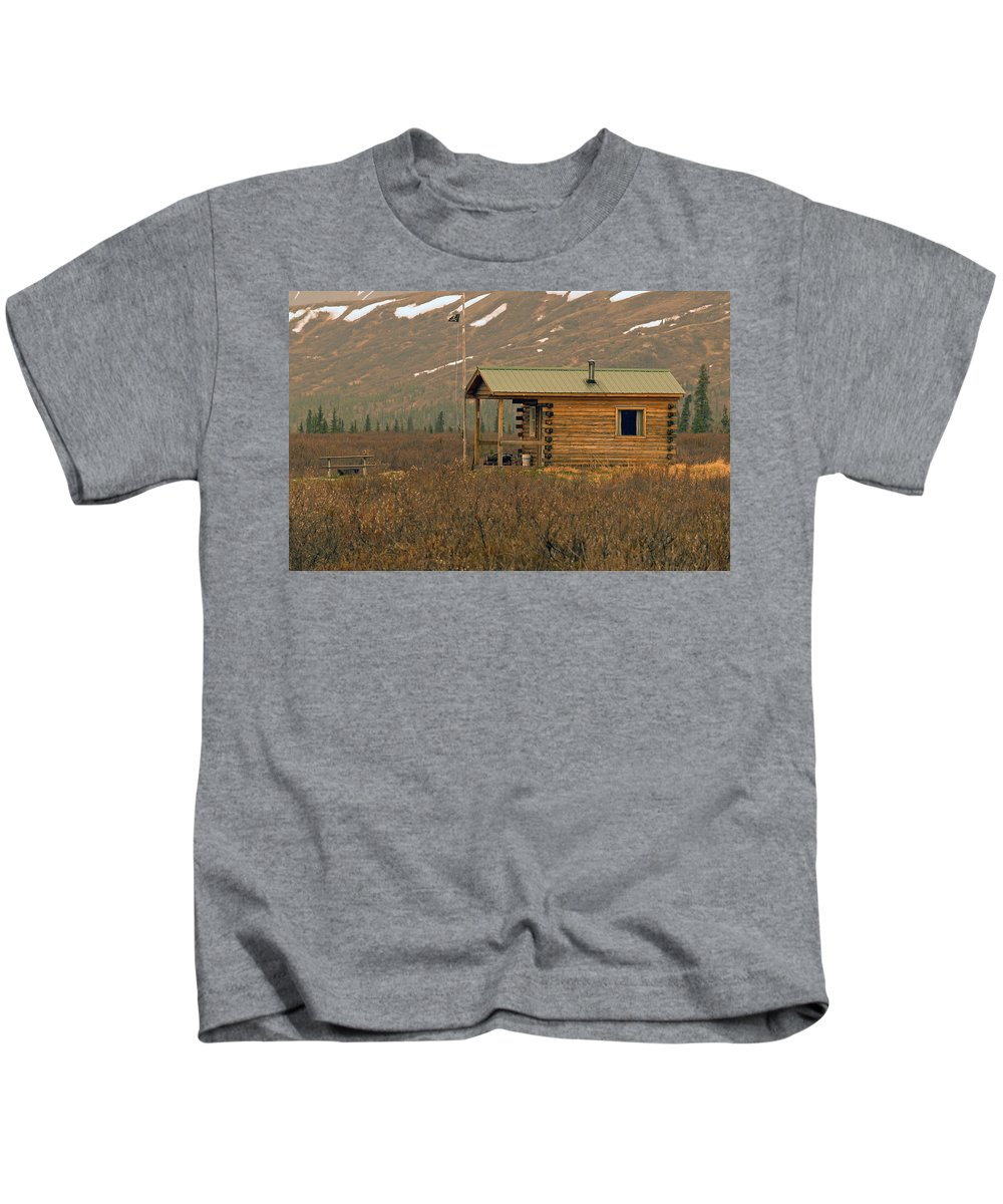 Log Cabin Kids T-Shirt featuring the photograph Home Sweet Fishing Home In Alaska by Denise McAllister