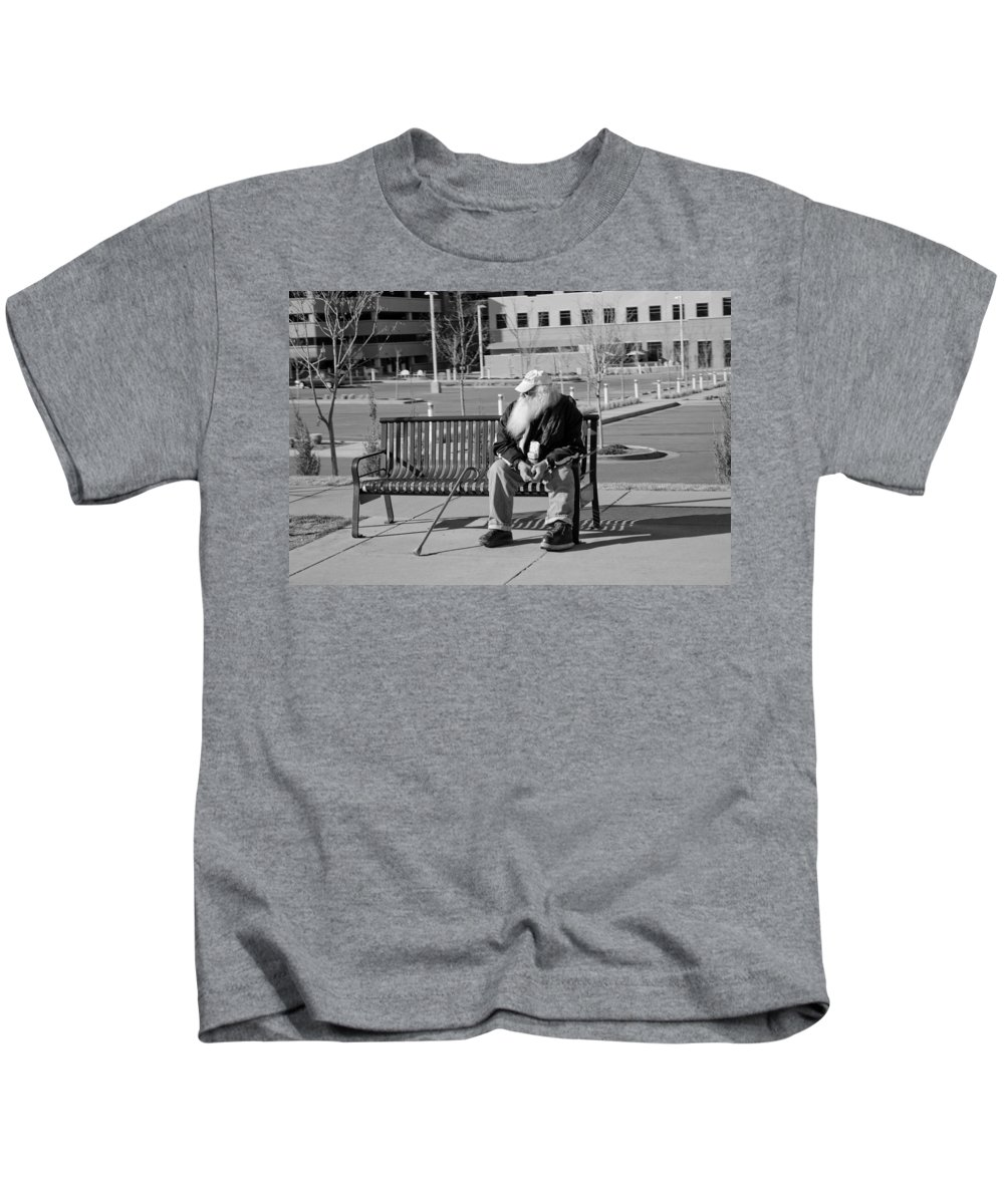 Portrait Kids T-Shirt featuring the photograph Homeless Man by Angus Hooper Iii