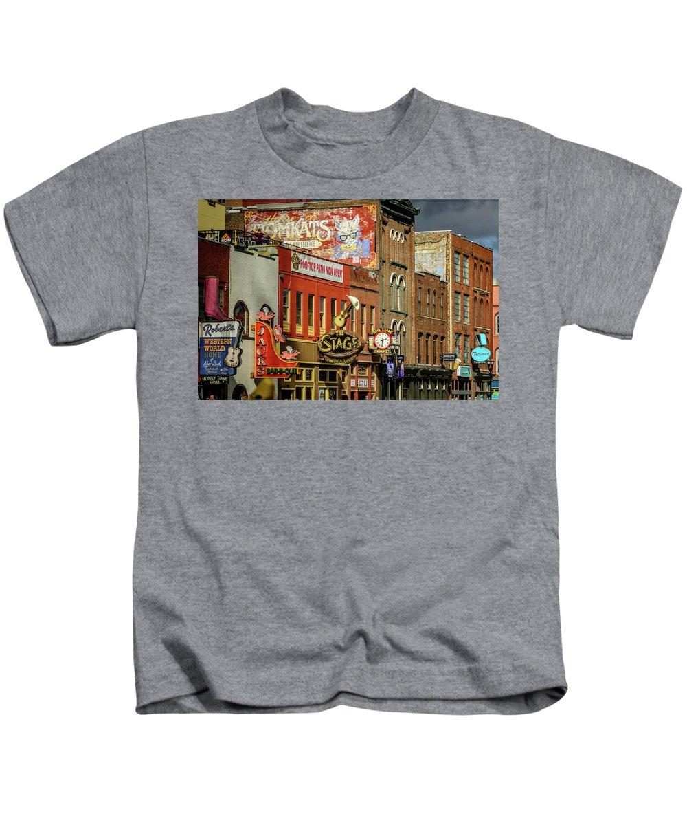 Honky Tonk Row - Nashville Tn Kids T-Shirt featuring the photograph Honky Tonk Row - Nashville Tn by Debra Martz