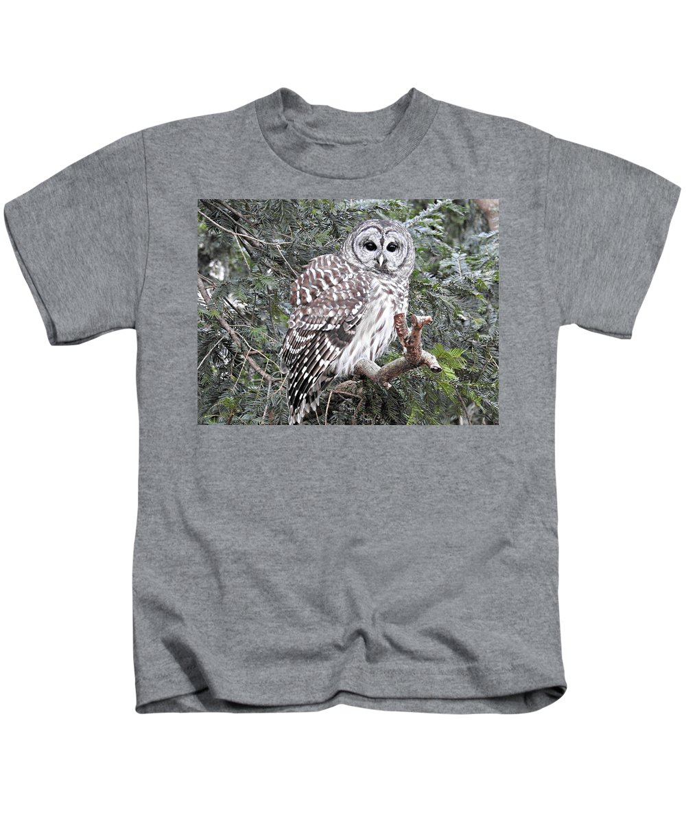 Owl Kids T-Shirt featuring the photograph Hooooooo by Arielle Cunnea