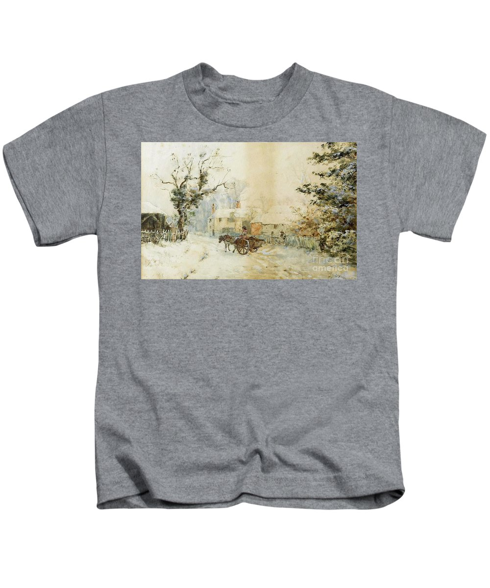 Henry Towneley Green - Horse-drawn Carriage In The Snow 1898 Kids T-Shirt featuring the painting Horse Drawn Carriage In The Snow by MotionAge Designs