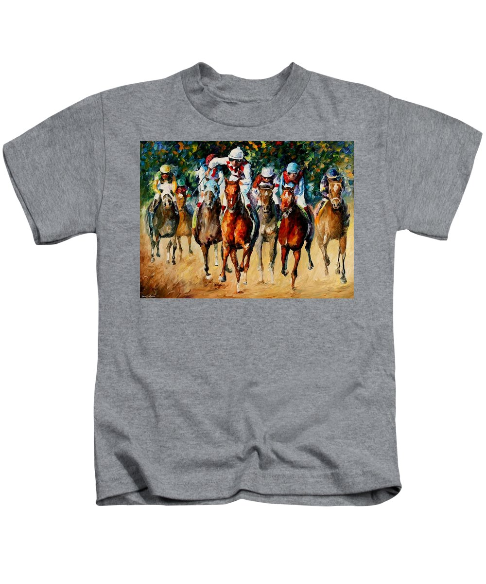 Afremov Kids T-Shirt featuring the painting Horse Race by Leonid Afremov