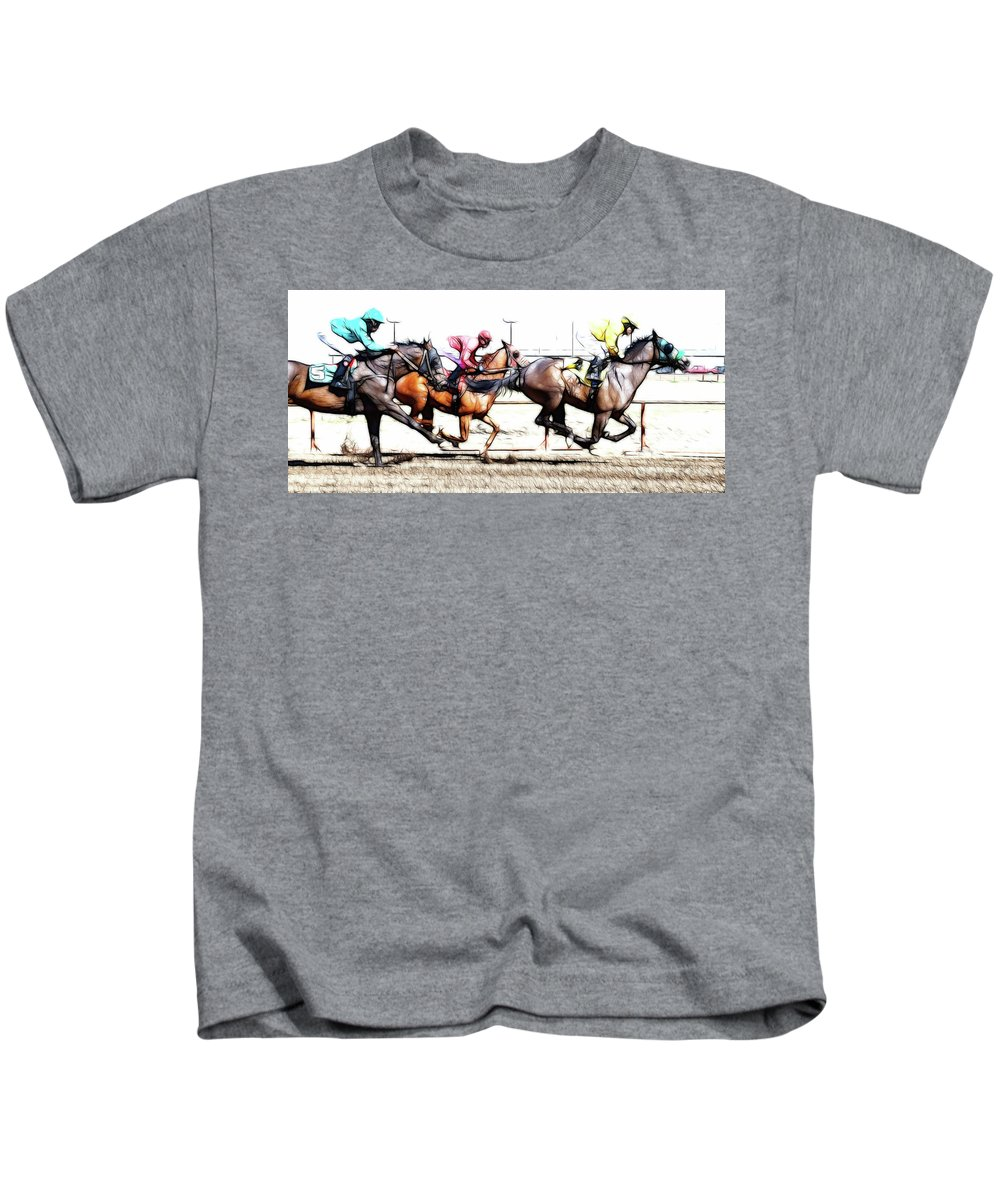 Jockey Kids T-Shirt featuring the photograph Horse Racing Dreams 2 by Bob Christopher