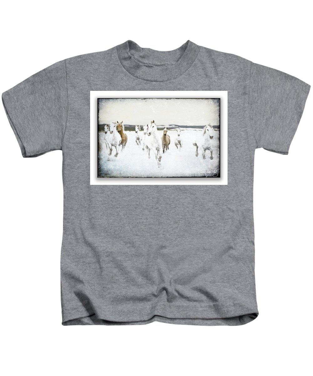 Horses Kids T-Shirt featuring the photograph Horses 33 by Ingrid Smith-Johnsen