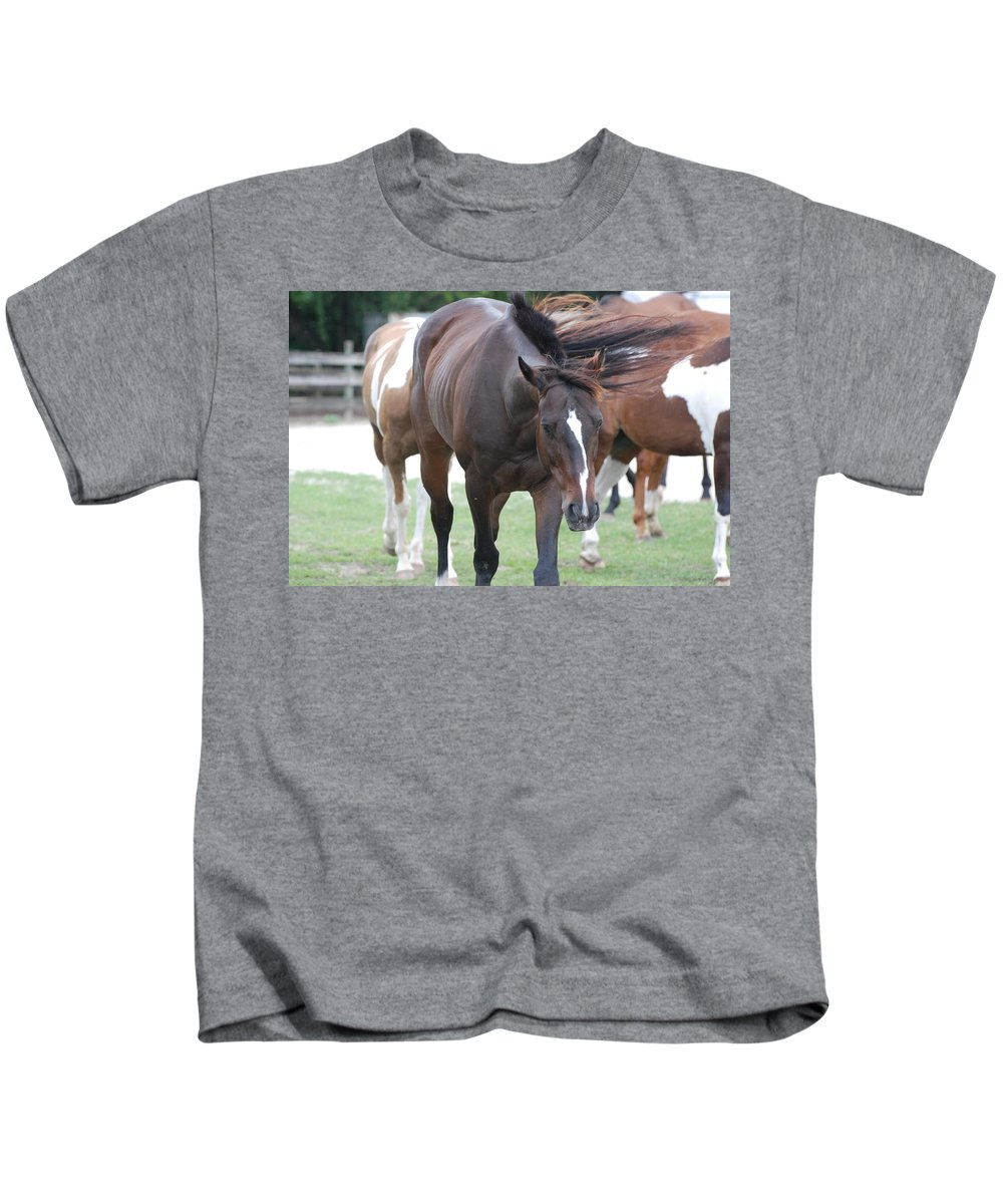 Horses Kids T-Shirt featuring the photograph Horses by Rob Hans