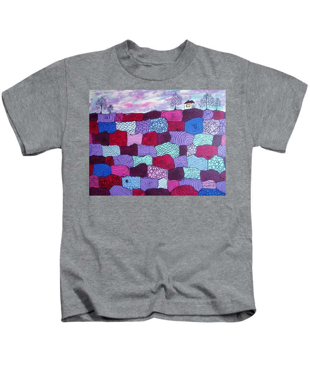 Folk Art Kids T-Shirt featuring the painting House On Top Of Patchwork Hill by Wayne Potrafka
