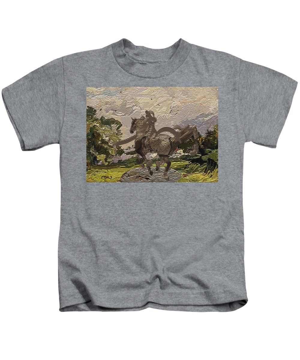 Landscape Kids T-Shirt featuring the mixed media House Statue In The Field by Pemaro