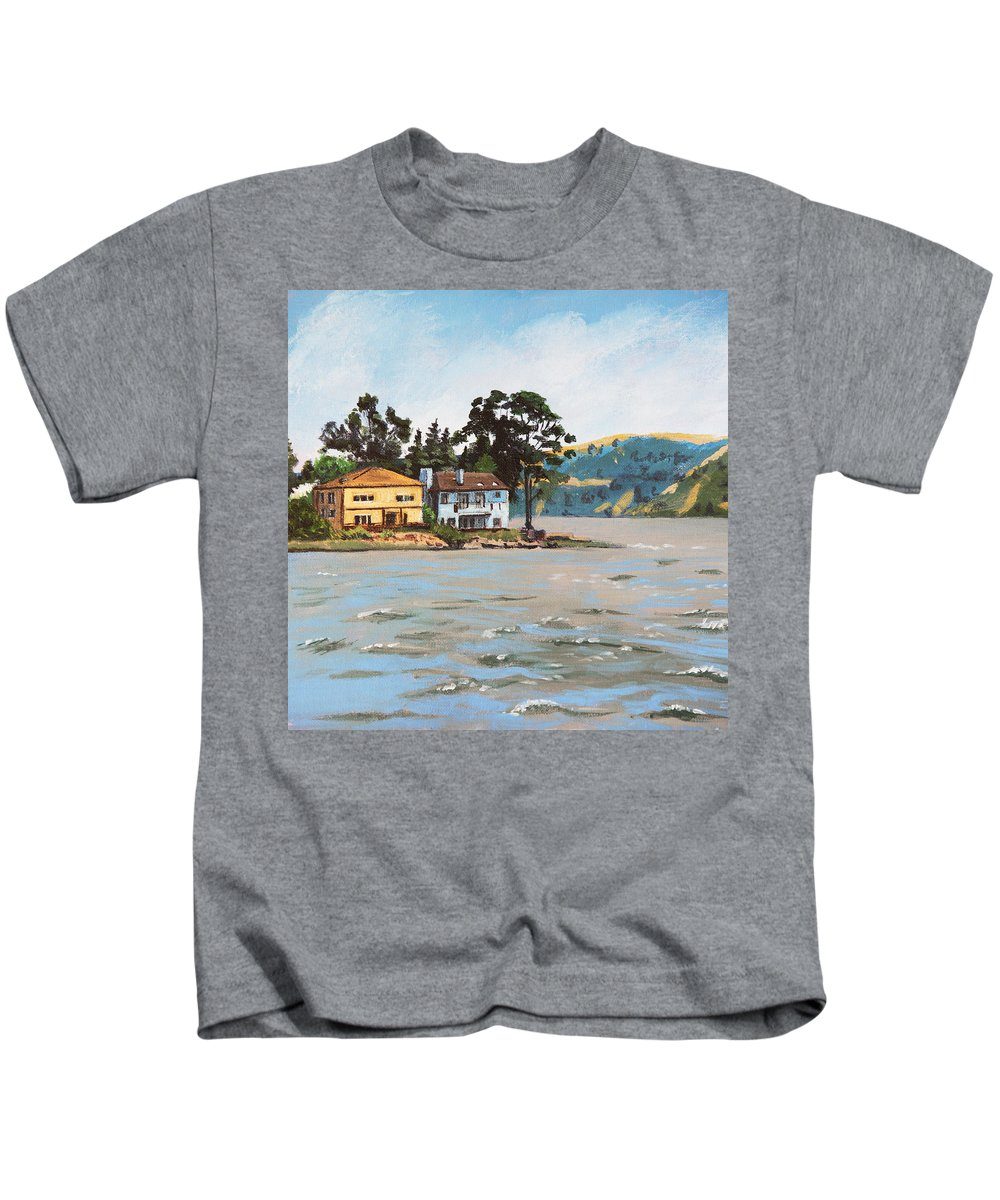 Buildings Kids T-Shirt featuring the painting Houses Next To Water by Masha Batkova