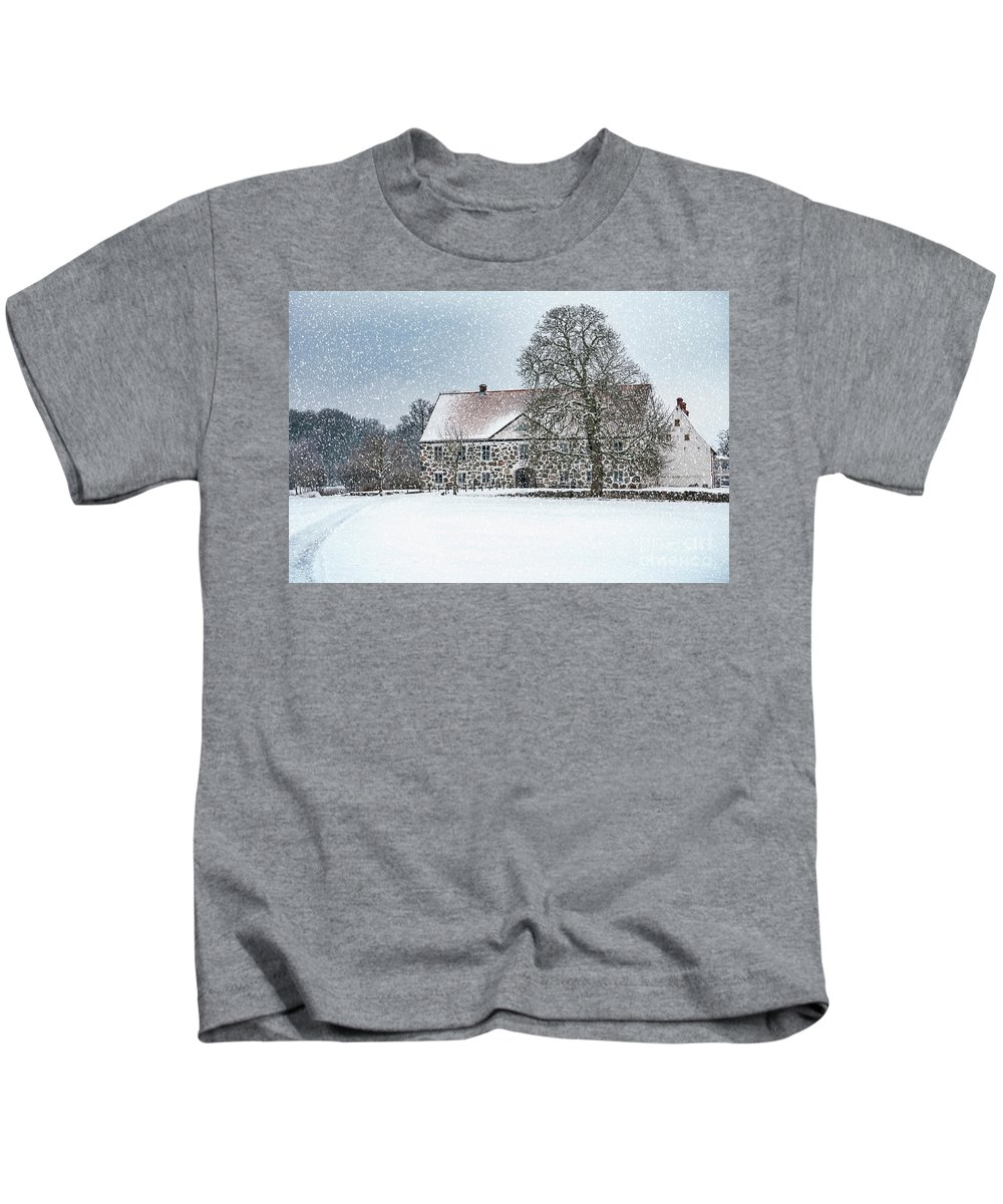 Winter Kids T-Shirt featuring the photograph Hovdala Castle Main House In Winter by Antony McAulay