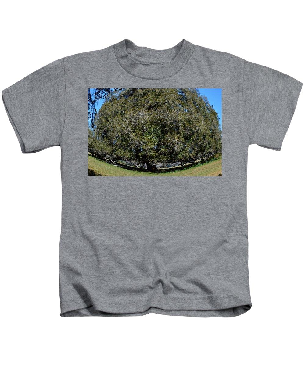 Huge Live Oak Fisheye Kids T-Shirt featuring the photograph Huge Live Oak Fisheye by Warren Thompson