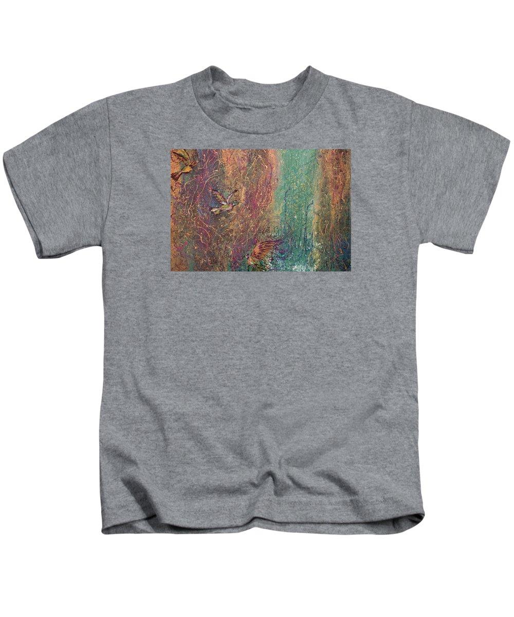 Abstract Acrylic Humming Birds Beautiful World Kids T-Shirt featuring the painting Hummingbird Dream by Gabriela Montemayor