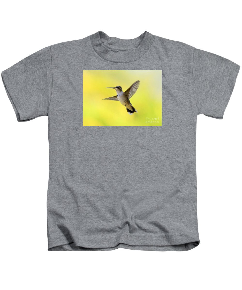 Hummingbird Kids T-Shirt featuring the photograph Hummingbird In Yellow by Carol Groenen
