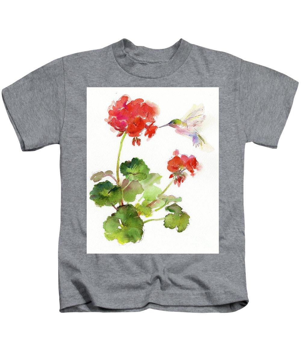 Hummingbird With Geranium Kids T-Shirt featuring the painting Hummingbird With Geranium by John Keeling