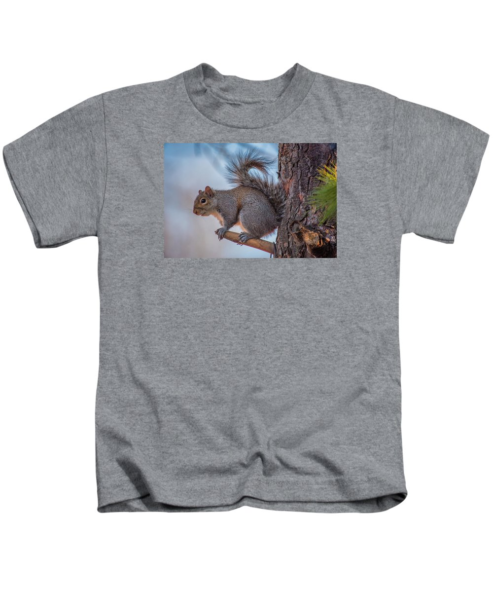 Squirrel Kids T-Shirt featuring the photograph Hungry Squirrel by Trent Garverick